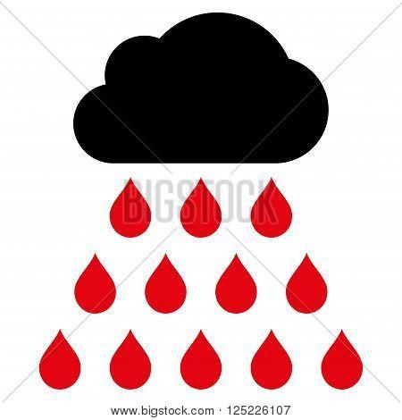 Rain Cloud vector icon. Rain Cloud icon symbol. Rain Cloud icon image. Rain Cloud icon picture. Rain Cloud pictogram. Flat intensive red and black rain cloud icon. Isolated rain cloud icon graphic.