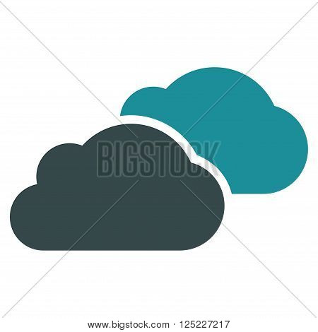 Clouds vector icon. Clouds icon symbol. Clouds icon image. Clouds icon picture. Clouds pictogram. Flat soft blue clouds icon. Isolated clouds icon graphic. Clouds icon illustration.
