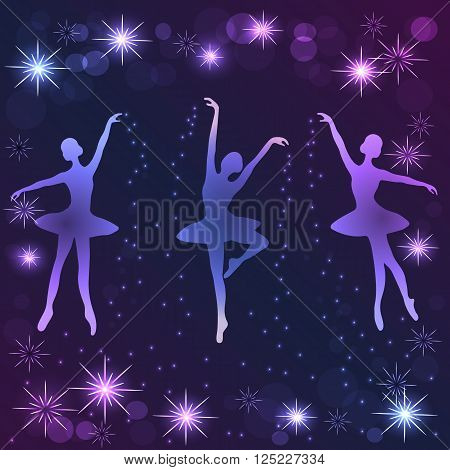 Tender ballerinas strewing magic shine dust on violet background with stars.