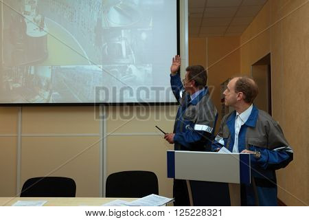IVANGOROD, LENINGRAD OBLAST, RUSSIA - MARCH 29, 2016: Presentation of emergency training at Narvskaya Hydroelectric Power Plant. Built in 1956, it has nameplate capacity 125 MW