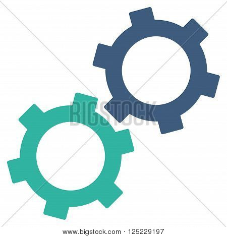 Gears vector icon. Gears icon symbol. Gears icon image. Gears icon picture. Gears pictogram. Flat cobalt and cyan gears icon. Isolated gears icon graphic. Gears icon illustration.