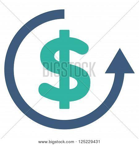Refund vector icon. Refund icon symbol. Refund icon image. Refund icon picture. Refund pictogram. Flat cobalt and cyan refund icon. Isolated refund icon graphic. Refund icon illustration.