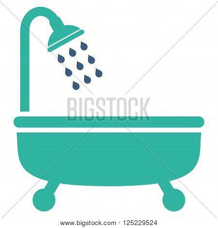 Shower Bath vector icon. Shower Bath icon symbol. Shower Bath icon image. Shower Bath icon picture. Shower Bath pictogram. Flat cobalt and cyan shower bath icon. Isolated shower bath icon graphic.