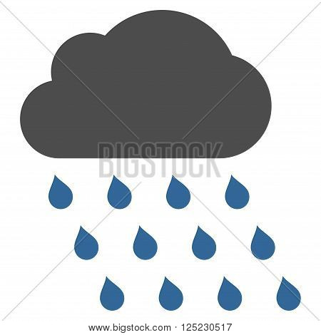 Rain Cloud vector icon. Rain Cloud icon symbol. Rain Cloud icon image. Rain Cloud icon picture. Rain Cloud pictogram. Flat cobalt and gray rain cloud icon. Isolated rain cloud icon graphic.