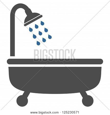 Shower Bath vector icon. Shower Bath icon symbol. Shower Bath icon image. Shower Bath icon picture. Shower Bath pictogram. Flat cobalt and gray shower bath icon. Isolated shower bath icon graphic.