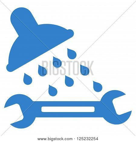 Shower Plumbing vector icon. Shower Plumbing icon symbol. Shower Plumbing icon image. Shower Plumbing icon picture. Shower Plumbing pictogram. Flat cobalt shower plumbing icon.