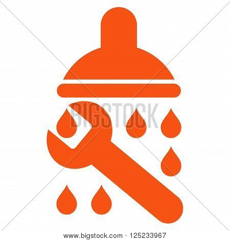 Shower Plumbing vector icon. Shower Plumbing icon symbol. Shower Plumbing icon image. Shower Plumbing icon picture. Shower Plumbing pictogram. Flat orange shower plumbing icon.