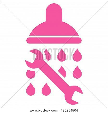 Shower Plumbing vector icon. Shower Plumbing icon symbol. Shower Plumbing icon image. Shower Plumbing icon picture. Shower Plumbing pictogram. Flat pink shower plumbing icon.