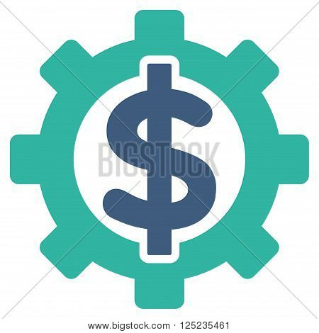 Financial Options vector icon. Financial Options icon symbol. Financial Options icon image. Financial Options icon picture. Financial Options pictogram. Flat cobalt and cyan financial options icon.
