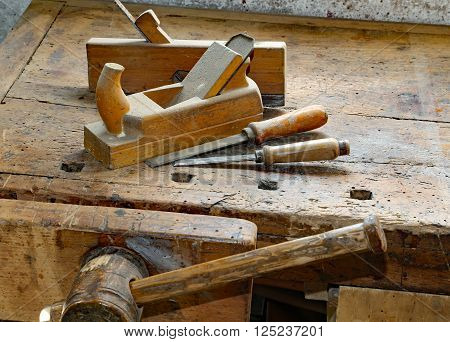 Planes And Chisels In The Workbench With A Wooden Vise Inside The Craftsman Joinery Manufacturer