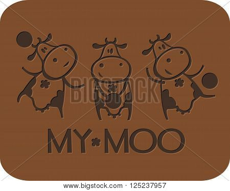 Vector illustration of logo on the milk-chocolate theme. Funny cow cartoon character playing with a ball.