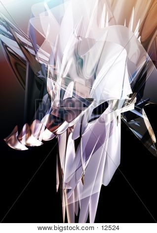 abstract, three dimensional, chaotic geometry with light and color passes. great for backgrounds. poster