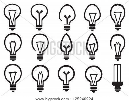 Set of black and white minimalist vector illustrations of light bulbs symbolism for bright ideas isolated on white background.