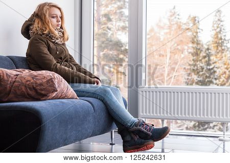 Blond Caucasian Teenage Girl In Warm Clothes