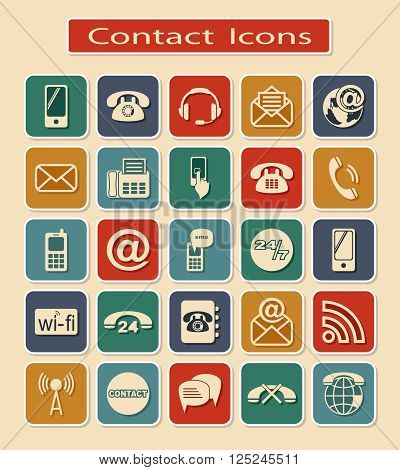 Set of Contact Icons. Symbols of Means of Communication on a Light Background.