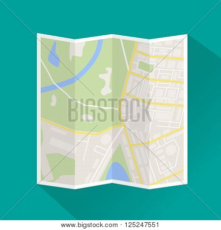 Folded paper city map. Abstract generic city map with roads, buildings, parks, river. City map icon with long shadow. Street map and direction. vector illustration