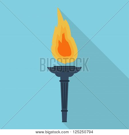Torch flat vector icon. Flambeau flat style icon. Cresset vector flat icon.