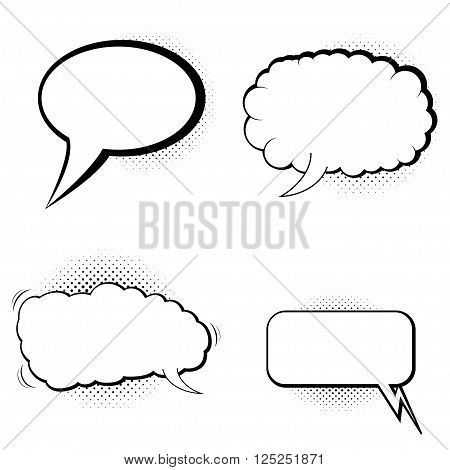 Speech bubbles with halftone shadow. Vector comic  speech bubbles with halftone shadow. Comic communicators and halftone shadow.