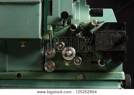 close up of old 8mm Film Projector part