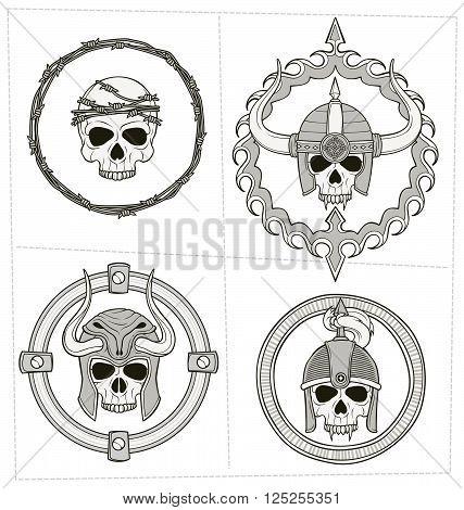 Monochrome Skull Illustration