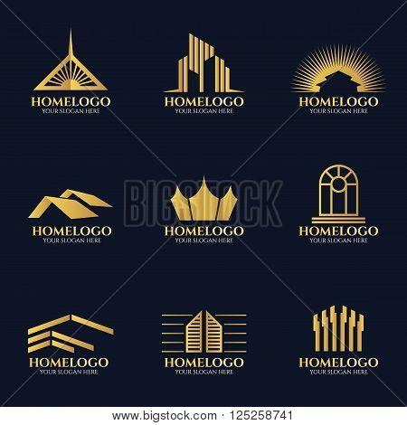 Golden home logo vector set art design