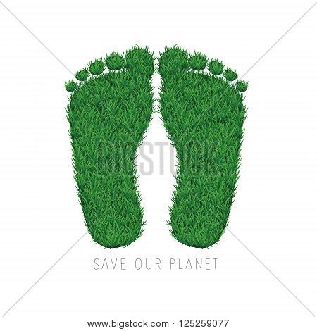 Save the planet motivational card with grass footsteps on white background