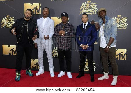 LOS ANGELES - APR 9:  O'Shea Jackson Jr., Corey Hawkins, Common, Neil Brown Jr., Aldis Hodge at the 2016 MTV Movie Awards Arrivals at the Warner Brothers Studio on April 9, 2016 in Burbank, CA