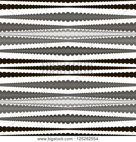 Abstract seamless geometric pattern of horizontal wavy stripes. Endless graphic print with roundish elements in black, white and shades of gray colors. Vector illustration for creative design