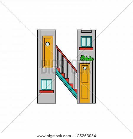 Illustration house letter alphabet. Larning the alphabet and literally in kindergarten. Letter isolated. The letter N