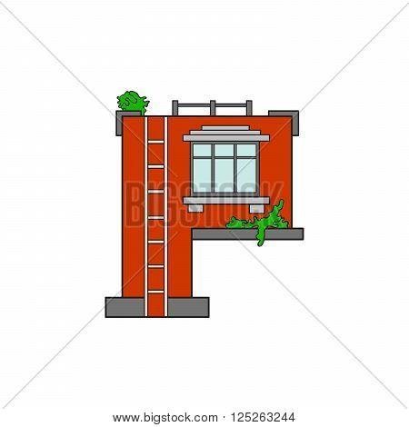 Illustration house letter alphabet. Larning the alphabet and literally in kindergarten. Letter isolated. The letter P