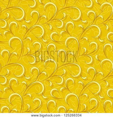 abstract yellow flourish floral swirl seamless background pattern
