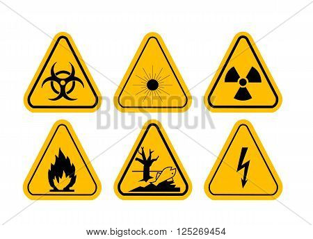 Vector Set of Triangle Yellow Warning Icons. High voltage, toxic, caution, fire, laser radiation, radioactive.