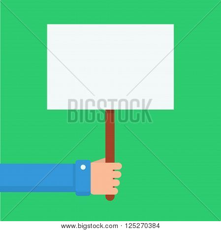 Hand holding blank placard. Placard with place for text. Hand with clean white placard. Empty placard for advertising or warning. Men hand shows placard.