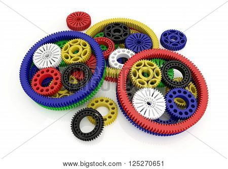 gears colored isolated on white background. 3d image