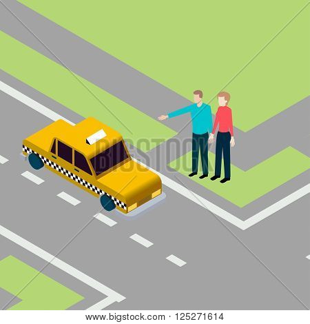 Man and woman standing on pavement while catching taxi
