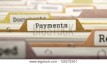 Payments on Business Folder in Multicolor Card Index. Closeup View. Blurred Image. 3D Render.