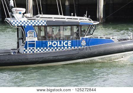 Melbourne, Australia - Nov 3, 2015: Close-up view of a Victoria Police boat patrolling in Melbourne, Australia