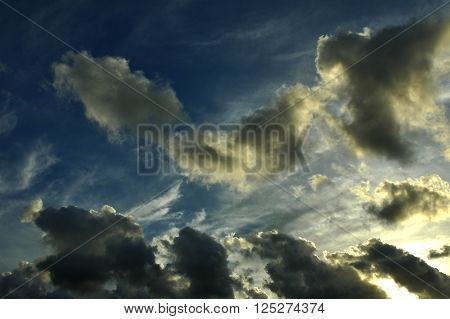 Cloudscape in Avranches (Manche Normandy France) in a summer evening