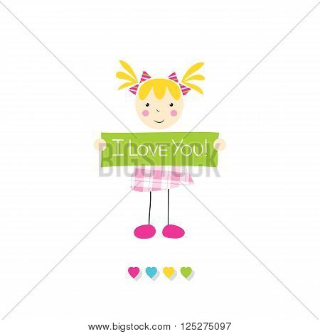 little blonde girl in pink plaid dress holding I love you sign with hearts on white background
