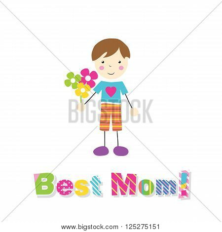 little brown haired boy in blue and orange outfit holding bouquet of flowers with letters best mom on white background