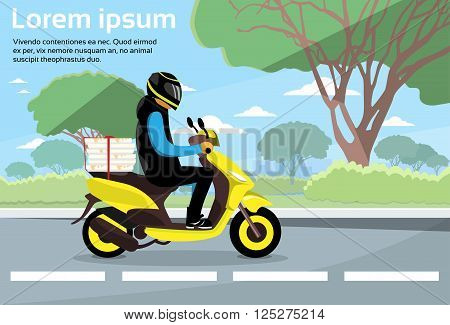 Delivery Man Ride Scooter Motorcycle Deliver Service Highway Flat Vector Illustration