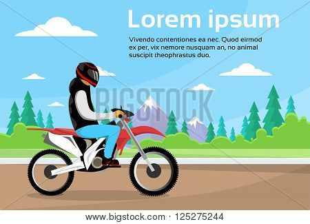 Man Ride Off Road Motor Bike, Sport Motocycle Over Nature Mountain Background Flat Vector Illustration