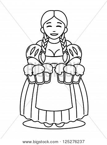 logo - cute cartoon blonde girl in traditional dress with beer mugs. Oktoberfest or St.Patrick 's Day. Tavern, pub, bar, festival. poster
