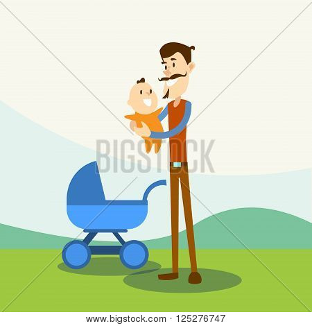 Father Hold Baby, Newborn Pram Nature Background Flat Vector Illustration
