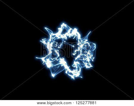 Blue abstract shockwave on black background, 3d illustration.