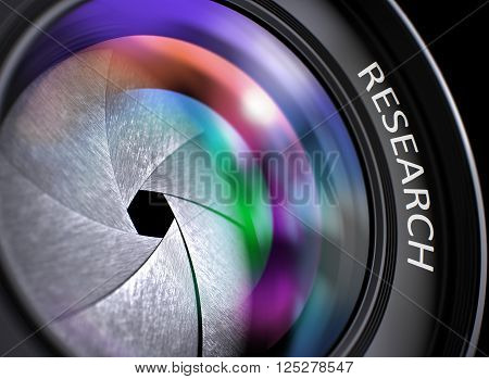 Front of Camera Lens with Bright Colored Flares. Research Concept. Research Written on a Lens of Reflex Camera. Closeup View, Selective Focus, Lens Flare Effect. 3D Render.