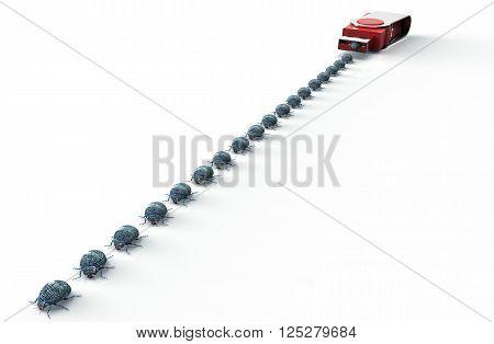 Digital Safety Concept Computer Bug On Usb Stick, 3D Illustration