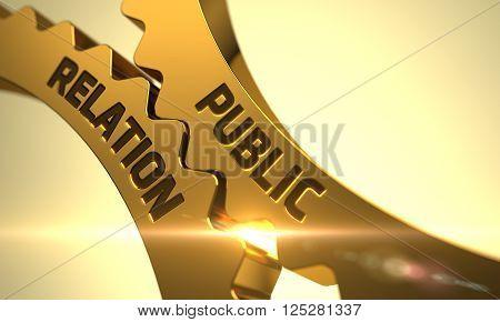 Public Relation Golden Metallic Cogwheels. Public Relation - Industrial Design. Public Relation on the Mechanism of Golden Gears. Golden Metallic Cog Gears with Public Relation Concept. 3D.