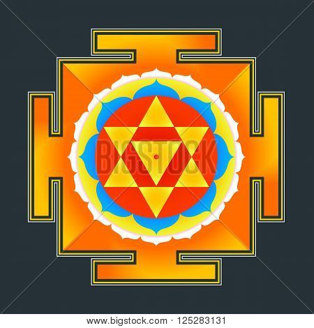 Colored Baglamukhi Yantra Illustration.
