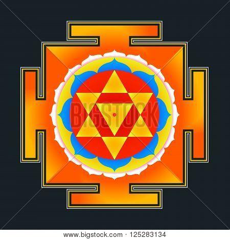 vector colored hinduism Baglamukhi maha yantra illustration sacred cosmology diagram isolated on black background